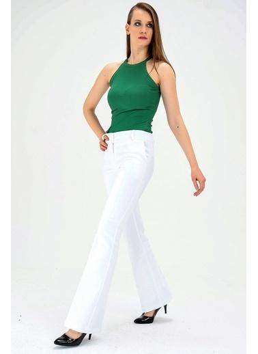Jument Kalın Kemerli Cepli Ispanyol Bol Paça Likralı Kumaş Pantolon-Gül Kurusu Beyaz